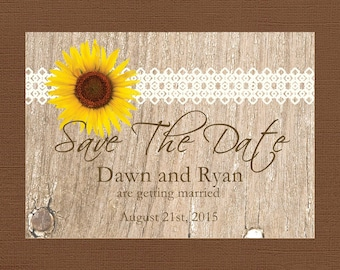 Rustic Save the Date, Sunflower Save the Date, Lace Save the Date, Wood Save the Date, Country Save the Date,Custom
