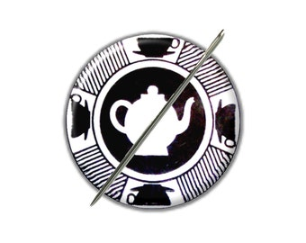 Tea Pot black white needle minder magnet counted cross stitch sewing tool notion wife gift under 10 tea lover gift needlepoint embroidery