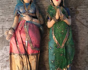 Vintage Lot of 2 Handmade in India Soft Sculpture Doll Figurine Statues
