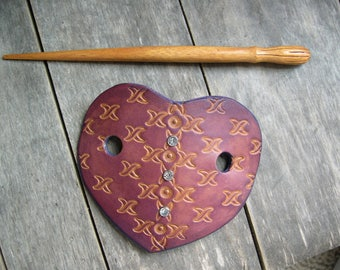 492 Leather Hair slide, stick barrette, Heart shaped barrette, bun holder,  Plum color, rhinestones, stamped leather, wood stick