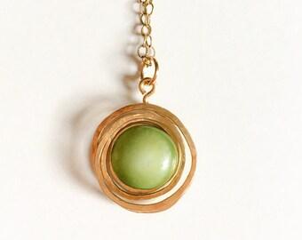 Porcelain green opalescent  Necklace Medallion