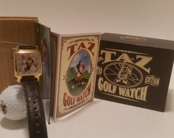 Vintage Gold Square Face Taz Golf Watch. Limited Edition - 7562 of 10000. Circa 1993. Good Working Condition!