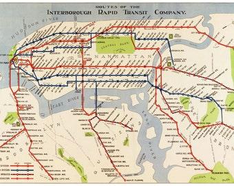 New York Map - Manhattan Subway Map Vintage
