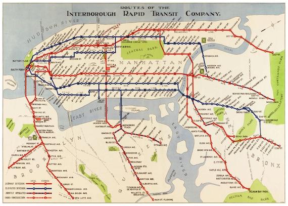 new york map manhattan subway map vintage
