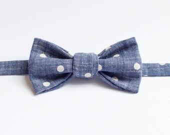 Handmade Bow Tie - Chambray Polka Dots