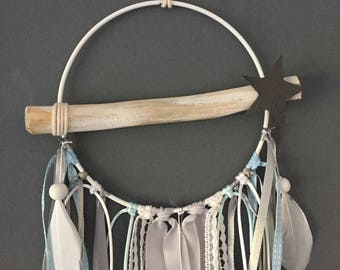 Blue grey white Driftwood Dreamcatcher