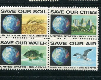 Anti-Pollution Stamps 4 Unused / Postage Stamps/ Wheat/Fish/City/Seagull Stamps