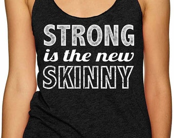 strong is the new skinny womens ladies racerback workout tank top gym clothing