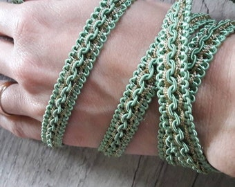 V15 plaited almond green and gold 10mm