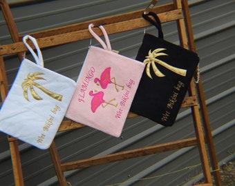 waterproof, wet bikini bag, wet swimsuit bag, Vacation bag, Wet bathing suit bag, flamingo print, summer bag, embroidery bag, beach bag