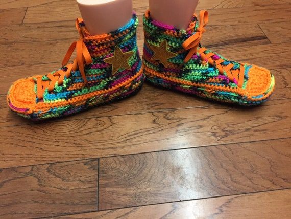 slippers Crocheted 285 slippers converse 8 10 tennis top converse Womens slippers Listing high neon rainbow shoe sneaker slippers crocheted rBOrU0