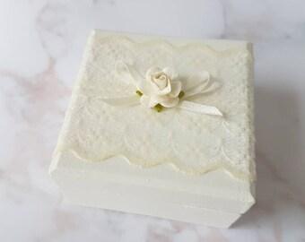 Vintage style ring box, wedding ring box, lace ring box, ring bearer, wedding rings,  bride and groom