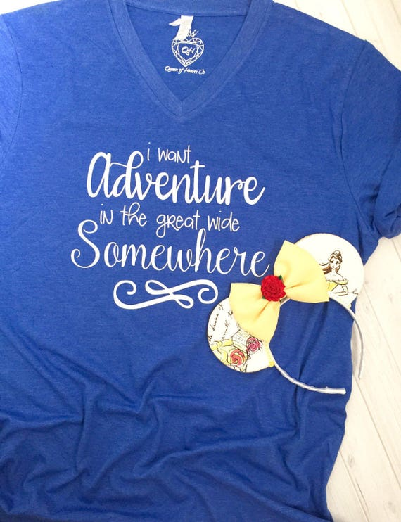 Beauty and the Beast Flowy Tee - I Want Adventure In the Great Wide Somewhere - Belle Shirt - Women's Flowy Tee - Womens Graphic Shirt kuPS9Hcdr