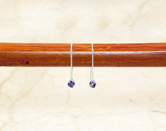 Sterling Silver Tiny Amethyst Glass Threader Earrings, Dangle Earrings, Silver Threaders, Threader Earrings, Minimalist Earrings, Threaders