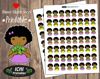 Payday Printable Planner Stickers, Payday Planner Stickers, Payday, African American, Black Girl, Stickers, Make it Rain, Printable Stickers
