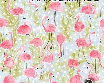 Pink Flamingo - Organic Jersey Fabric