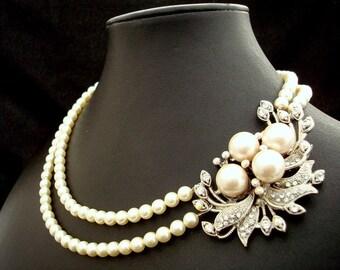 Bridal Pearl Necklace, Bridal Necklace, Bridal Rhinestone Necklace, Statement Bridal Necklace, crystal Necklace, brooch necklace, JULIE