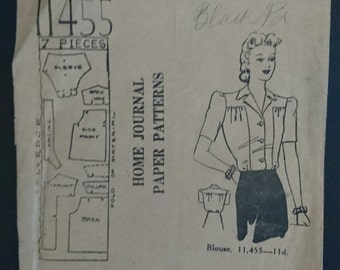 "Australian Home Journal Blouse pattern 11455 -1940s Bust 32""- buttons down front"
