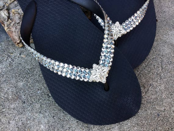 Custom Flip Flops Super Bling Silver Jewel Havaianas Flat or Wedge 1.5 Heels w/ Gray Swarovski Crystal 3D Ice Cap Wedding Beach Bridal Shoes