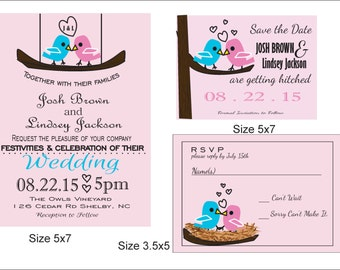 Love Birds Wedding Invatation Printable, Wedding Suite, RSVP, Save the Date, Customizeable, Creative Invite