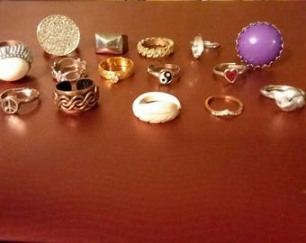 Vintage to new junk drawer ring lot various sizes Lot#15