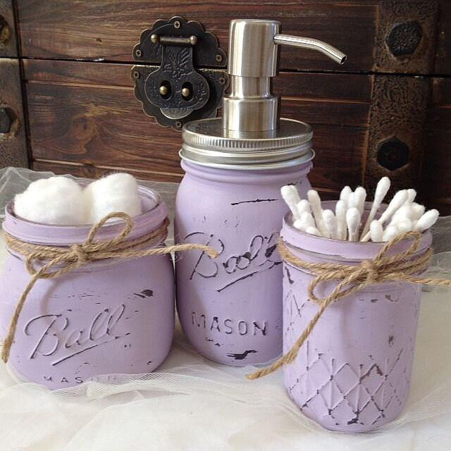 Zoom Hand Painted Lilac Lavender Mason Jar Bathroom Set