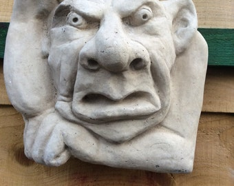 Stone gargoyle wall plaque garden ornament