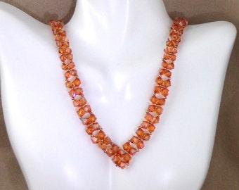 Swarovski 'Copper' crystal necklace set, V crystal necklace and earrings, Autumnal necklace set, burnt orange necklace and earrings