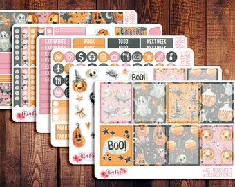 CLEARANCE! Boo Pastel Halloween Planner Sticker Kit, for use in Erin Condren Life Planners, Happy Planner Sticker Kits, Halloween F015