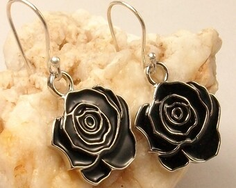 Earrings Silver 925, black rose, gift idea for romantic woman