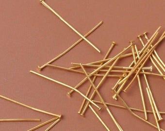 20mm Gold Plated Head Pins-100 PCS.