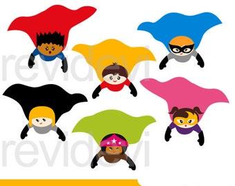 SUperhero clipart sale / Superhero flying cape clip art - commercial use, kids clipart, digital images, instant download