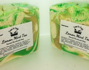 Lemon Mint Tea handmade soap, shea butter soap, fancy artisan soap bar, colorful soap bar