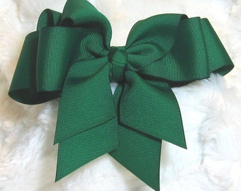 Deep Hunter Green Girls 5 inch Double Hair Bow