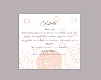 DIY Wedding Details Card Template Download Printable Wedding Details Card Editable Peach Pink Details Card Floral Enclosure Cards Rose Card