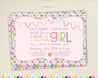 Girl Baby Shower Invitation - It's a girl Pink And Banner