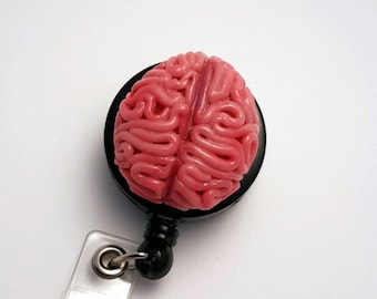 Anatomical Brain Badge Reel Handmade
