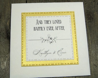 Elegant Wedding Favors - Wildflower Seeds - Personalized - And they loved happily ever after - Set of 10 - Gold metallic