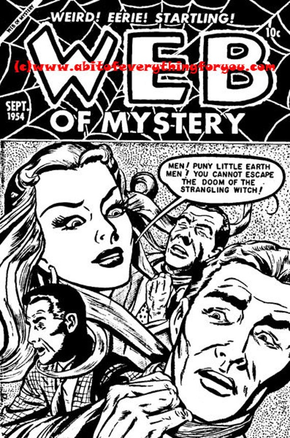 web of mystery wicked woman horror comics black and white art horror coloring page printable art download digital coloring comic images