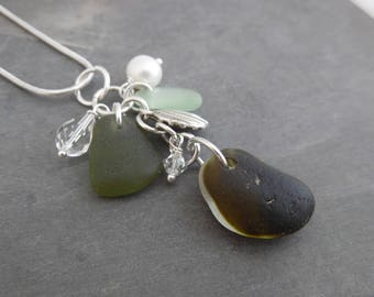 English Sea Glass Necklace Charm Beach Jewelry Sterling Green Pendant