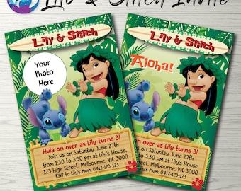 Lilo and Stitch Invitation, Lilo and Stitch Party Invitation, Lilo and Stitch Birthday Party, Lilo and Stitch Photo Invitation Tropical Luau