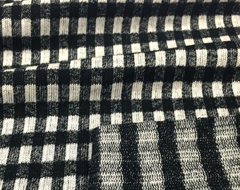 Black and Natural Cotton Blend Mock Twist Jersey Knit Fabric