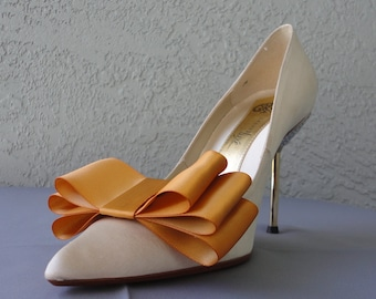 Amber Satin Ribbon Bow Shoe Clips Set Of Two, More Colors Available