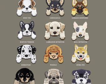 animal patch dog patch pet poodle pug boston terrier shiba inu bull Embroidered patch embroidery iron on patch sew on patch (A113)