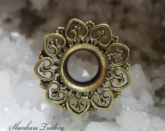Ornate Brass Ear Tunnel, Ear Plugs, Tribal Ear Tunnels, Eyelets, Ear Stretchers, Brass Ear Plugs, Gauge Jewelry, Ear Tunnels, Tribal Plugs