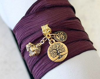 Hand Dyed Silk Ribbon Wrap Bracelet Burgundy Gold Tree of Life, Om, Ohm, Buddha Yoga Jewelry