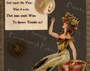 Drown your love sorrows with WINE, ANTIQUE Illustration, Dwig Postcard, Instant Digital Download
