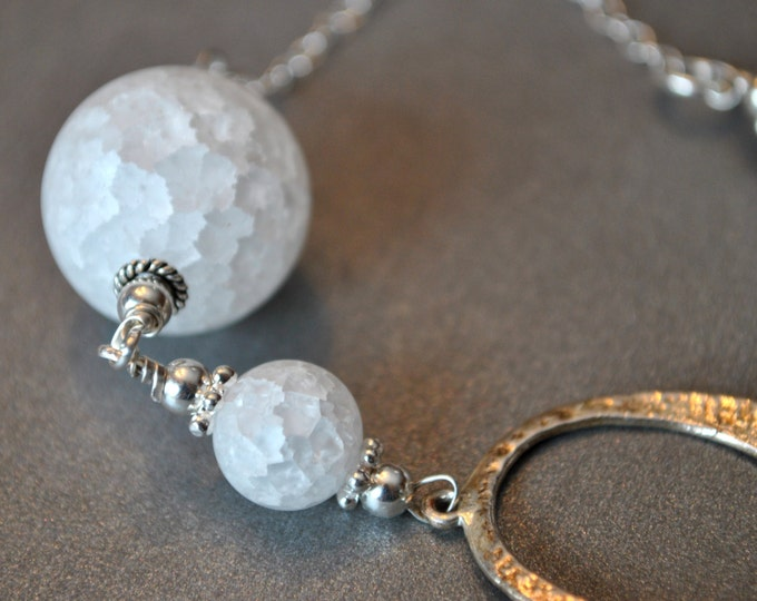 Snowball Necklace on Sterling Silver chain   winter necklace, simple, boho, minimalist