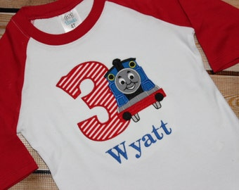 Personalized Train Birthday Shirt with Number Raglan Shirt Blue train