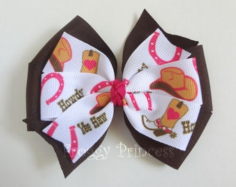 Cowgirl Bow - Pink and Brown Pinwheel Style - No Slip Velvet Grip Hair Clip
